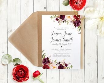 Boho Red Rose Wedding Invitation, Floral Rustic Wedding Invite Peonies    SAMPLE