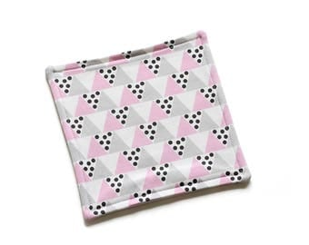 SALE || Organic Reusable Cloth || 18cm x 18cm || Triangles Pink, Grey and Dotty|| Organic Backing