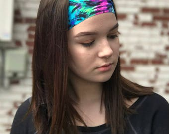 Hippie Clothes - Womens Hair Accessories - Yoga Headband - No Slip Headband - Comfy stretchy cute tie dye headband for running - PSYCHEDELIC