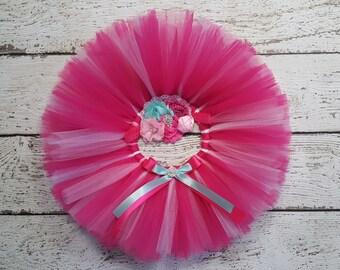 Birthday Tutu Outfit - Cake Smash Outfit Girl - Pink Tutu Set - First Birthday - Hot Pink & Teal - Pink Tutu - Newborn Tutu Baby Tutu