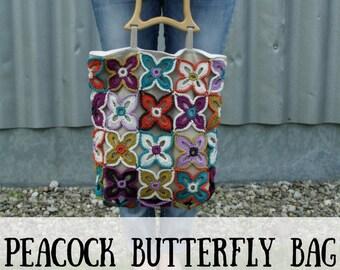 Crochet bag pattern, crochet pattern flower bag, crochet flower bag crochet pattern, peacock butterfly bag crochet pattern, crochet pattern