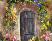 Doorway ACEO Landscape Flowers  Original Acrylic ACEO landscape painting by Australian Artist Janet M Graham