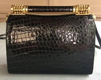 Rodo Alligator Embossed Leather Shoulder Bag Made in Italy