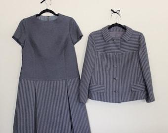 Madly Mod! Striped Dress & Jacket     1960s      Size Large