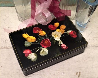 Vintage Floral Tin, c 1950s Vintage Tin Box, Black with Flowers, Candy Confection Tin, Trinket Box, Belgium