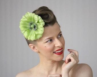 "Green Fascinator, Large Flower for Hair, Poppy Hair Clip, Spring Hair Flower for Women, Sage Celadon Mint - ""Sprout in Spring"""