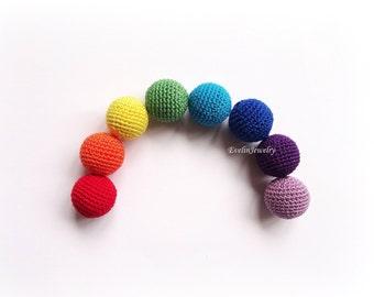 Crochet Round Beads Colorful Rainbow Knit Wood Beads -20mm - 8pcs