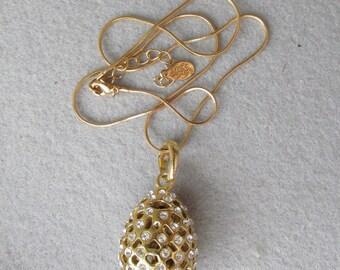Vintage Signed Kirks Folly Modernist Hollow Rhinestone EGG Pendant Necklace
