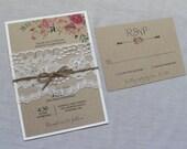 Wedding Invitation, Rustic Wedding Invitation, Floral Wedding Invitation, Lace Wedding Invitation, DIY Invitation or printable
