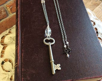 Skeleton Key No 2 - crystal necklace key necklace repurposed recycled