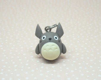Totoro polymer clay charm - stitch marker - necklace