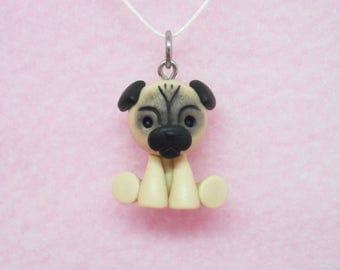 Cute pug dog puppy polymer clay charm - stitch marker - necklace