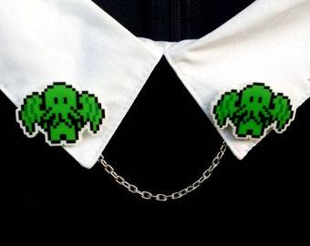 Cthulhu Collar Pins - Cthulhu Jewelry - Cthulhu Pin - Cthulhu Brooch - Cthulhu Double Brooch - Cthulhu Sweater Clips