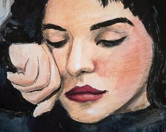 Original Watercolor Mixed Media Painting 26cm x 18cm Beautiful Reclining Dark Haired Woman In Black Sweater