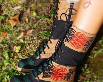 Women's Tribal Vegan Boots, Women's Pink Boots, Tribal Boots, Vegan Boots, Green Boots, Hippie Boots, Boho Boots, Gypsy Boots, Ethnic Boots