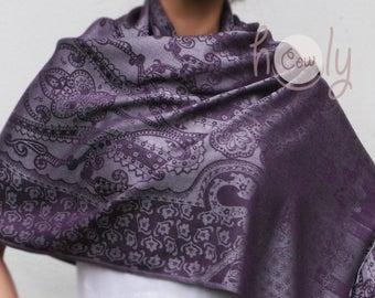 Purple Cotton Scarf, Silver Silk Scarf, Purple Silk Shawl, Cotton Scarf, Cotton Shawl, Purple Scarf, Boho Scarf, Hippie Scarf, Gift For Her