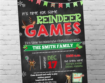Christmas Party Invitation | Reindeer Games Party | Christmas Games Invitation | Reindeer Christmas Invitation | Digital Invitation
