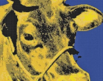 Pop Art Yellow Cow PDF Cross-Stitch Pattern