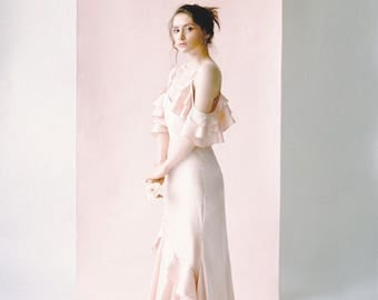 "Silk Wedding Gown, Pink Silk Wedding Dress, Silk Wedding Dress, Ruffle Details Wedding Dress ""Sakura"""