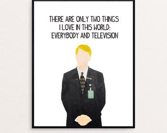 """30 Rock - Kenneth the Page Quote - """"There are only two things I love in this world: everybody and televison."""" - Watercolor Digital Print"""