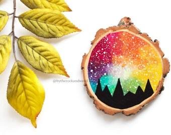 "Mountain Painting with Rainbow Sky, 3"" Wood Slice Painting, Rainbow Mountain Wood Painting, Hand-Painted Wood Mountain, Wood Slice Art"