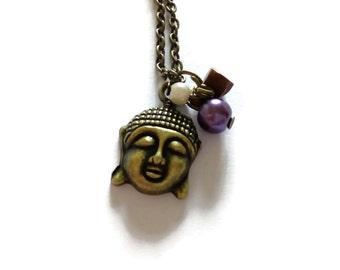 Buddha Necklace Vintage Gold