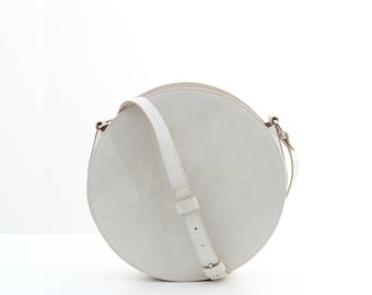 White leather circle bag, round bag, leather crossbody bag, cross body bag, white leather bag, leather shoulder bag, white bag FREE SHIPPING