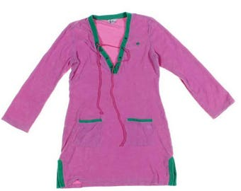 Lilly Pulitzer Terry Cloth Swim Cover Up, Tunic Beach Cover Up , Size Medium Pink and Green Terry Cloth Tunic