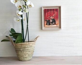 Rabbit, painting, wall art, wall decor, art decor, magic print, magic hat, rabbit art, red picture, magician, gift, art, rabbit gift, magic
