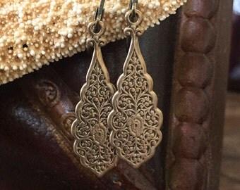 SALE, Boho Jewelry, Vintage Rustic Bronze, Filigree, Dangle Earrings, Exotic, Moroccan, Boho Earrings, Festival Jewelry, Two Silver Sisters