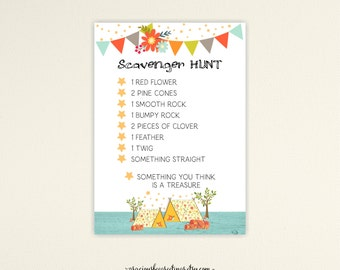 Scavenger Hunt, Camping Scavenger Hunt, Glamping Scavenger Hunt Card, Camping Party Games, Instant Download, K9008.b