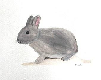 Bunny rabbit art Original watercolour rabbit painting Woodland animal art Baby animal art Nursert art Animal illustration Original art