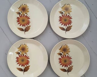 4 Johnson Side Plates Brown Floral
