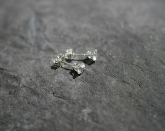 White Topaz Earrings, Small Stud Earrings, Sterling Silver Earrings.