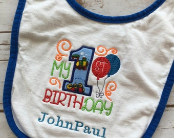 custom boy birthday bib, 1st birthday bib, birthday outfit, first birthday outfit, personalized name bib, cake smash outfit boy, photo prop