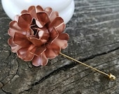Copper Enamel Flower Lapel Pin Copper Buttonhole Metal Rose Lapel Pin Dark Rose Gold Boutonniere Men's Lapel Flower Rose Gold Flower LP27
