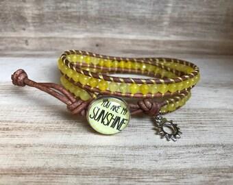 You are My Sunshine Double Wrap Bracelet, Yellow Bracelet