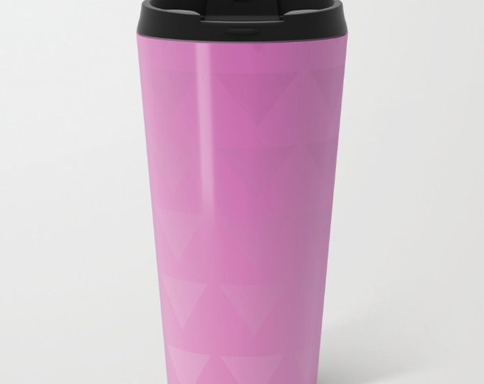 Pink Travel Mug Metal - Ombre Pink with Triangles Coffee Travel Mug -  Hot or Cold - 15oz Mug - Stainless Steel - Made to Order