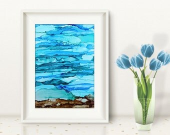 Original abstract painting blue and green ocean ink painting