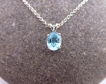 Faceted Zircon and Sterling Silver Pendant