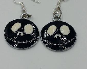 Jack Skellington Earrings, Skull Earrings, Nightmare before christmas earrings, Halloween earrings
