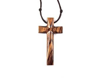 Mens Cross Necklace, Large Wood Cross Necklace, Large Cross Pendant, Mens Cross Pendant, Carved Wooden Cross Pendant, Christian Jewelry