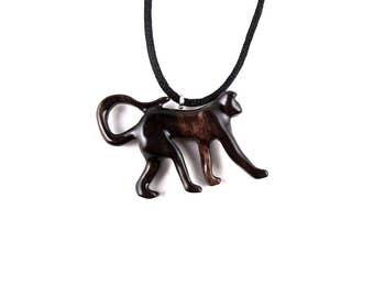 Monkey Pendant, Monkey Necklace, Monkey Jewelry, Wood Monkey Necklace, Wood Jewelry, Monkey Totem Tribal Jewelry, Hand Carved Animal Pendant