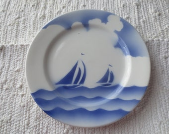 Syracuse China Blue and White 9 in Plate, Ships, Ocean, Clouds