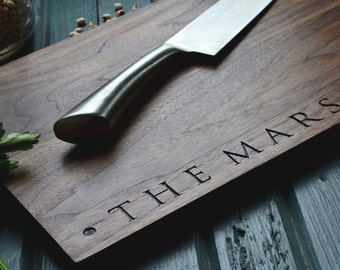"Personalized Cutting Board ""Family Name"" Engraved Walnut Wood , Custom Wedding, Anniversary Gift"
