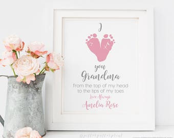 Gift for Grandmother from Baby Personalized Mother's Day Gift for New Grandma Footprint Art Print, Your Child's Feet, 8x10 inches UNFRAMED