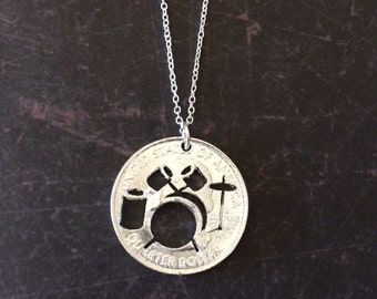 Drum Necklace - Drum Pendant - Rocker Jewelry - Drum Set - Music Gifts - Music Jewelry - Music Necklace - Music Pendant - Muscian Gifts