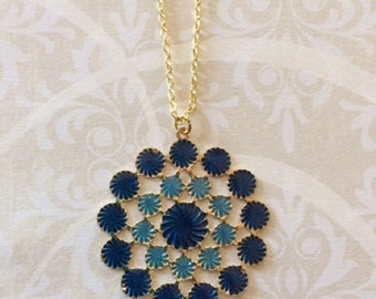 Blue Necklace - Blue Jewelry - Blue Pendant - Blue Pendant Necklace - Blue and Gold Necklace - Blue Wedding - Royal Blue Necklace - Necklace