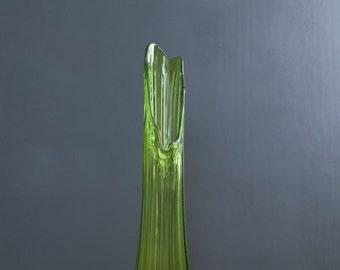 "Very Large Viking Swung Vase - 23"" Mid Century Green Viking Glass Vase - Blown Glass Sculptural Art - Danish Modern Handkerchief Vase"