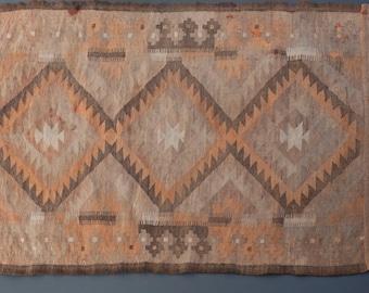 Vintage Turkish Kilim Rug 3' x 5' - Vintage Area Runner Rug Flatweave Textile Brown Pink Neutral